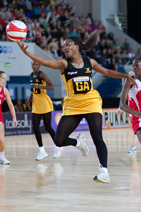Simone Forbes in action during the the 2nd of 3 Test matches between England Netball and Jamaica's 'Sunshine Girls', Played at the Skydome in Coventry on 24th February 2009