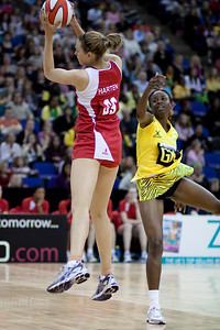 jo Harten takes control during the 1st of 3 Test matches between England Netball and Jamaica's 'Sunshine Girls'. Played at the o2 Arena in London.