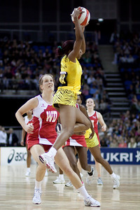 Sara Bayman in action during the 1st of 3 Test matches between England Netball and Jamaica's 'Sunshine Girls'. Played at the o2 Arena in London