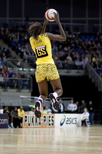 Romelda Aiken takes the pass during the 1st of 3 Test matches between England Netball and Jamaica's 'Sunshine Girls'. Played at the o2 Arena in London