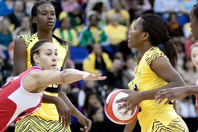 Geva Mentor blocking the shot during the 1st of 3 Test matches between England Netball and Jamaica's 'Sunshine Girls'. Played at the o2 Arena in London.