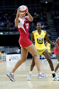 Action during the 1st of 3 Test matches between England Netball and Jamaica's 'Sunshine Girls'. Played at the o2 Arena in London