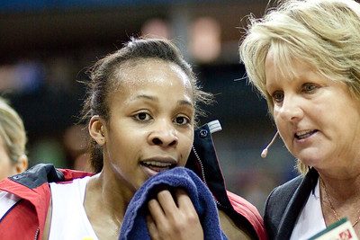 Sue Hawkins and Pamela Cookey talking tactics during the 1st of 3 Test matches between England Netball and Jamaica's 'Sunshine Girls'. Played at the o2 Arena in London.