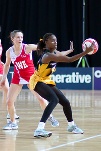 Action during the the 2nd of 3 Test matches between England Netball and Jamaica's 'Sunshine Girls', Played at the Skydome in Coventry on 24th February 2009