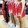 The England Netball Management team and players at the 1st of 3 Test matches between England Netball and Jamaica's 'Sunshine Girls'. Played at the o2 Arena in London.
