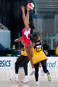 Pamela Cookey & Simone Forbes in action during the the 2nd of 3 Test matches between England Netball and Jamaica's 'Sunshine Girls', Played at the Skydome in Coventry on 24th February 2009