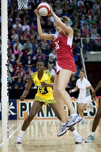 Jo Harten in flight during the 1st of 3 Test matches between England Netball and Jamaica's 'Sunshine Girls'. Played at the o2 Arena in London.