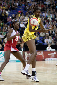 Romelda Aiken in action during the 1st of 3 Test matches between England Netball and Jamaica's 'Sunshine Girls'. Played at the o2 Arena in London.
