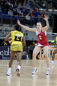 Jade Clark & Nadine Bryan during the 1st of 3 Test matches between England Netball and Jamaica's 'Sunshine Girls'. Played at the o2 Arena in London.