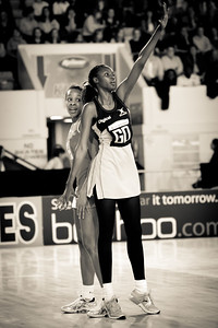 Pamela Cookey in action during the the 2nd of 3 Test matches between England Netball and Jamaica's 'Sunshine Girls', Played at the Skydome in Coventry on 24th February 2009