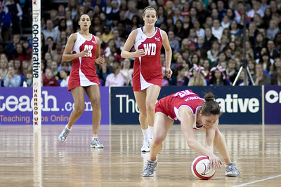 Geva Mentor, Sara Bayman and Karen Atkinson in action during the 1st of 3 Test matches between England Netball and Jamaica's 'Sunshine Girls'. Played at the o2 Arena in London