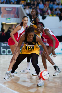 Romelda Aiken, Geva Mentor, Sonia Mkoloma & Simone Forbes in action during the the 2nd of 3 Test matches between England Netball and Jamaica's 'Sunshine Girls', Played at the Skydome in Coventry on 24th February 2009