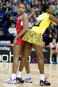 Pamela Cookey of England Netball ready for action during the 1st of 3 Test matches between England Netball and Jamaica's 'Sunshine Girls'. Played at the o2 Arena in London.