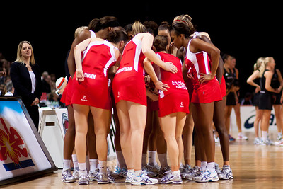 The England Netball team huddle during the 1st of 3 matches as part of the FIAT International Netball Test Series between England & New Zealand at the MEN Arena, Manchester on 15th January 2011.