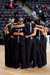The New Zealand Silver Ferns team huddle during the 1st of 3 matches as part of the FIAT International Netball Test Series between England & New Zealand at the MEN Arena, Manchester on 15th January 2011.