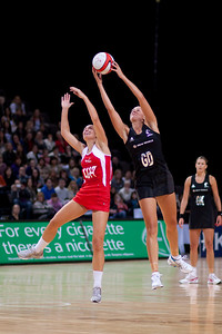 Tamsin Greenway of England Netball and Casey Williams of the Silver Ferns in action during the 1st of 3 matches as part of the FIAT International Netball Test Series between England & New Zealand at the MEN Arena, Manchester on 15th January 2011.