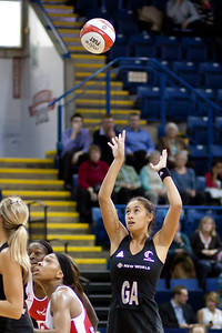 Maria Tutaia of New Zealand in action during the 2nd of 3 matches as part of the FIAT International Netball Test Series between England & New Zealand at the Capital FM Arena, Nottingham on 17th January 2011