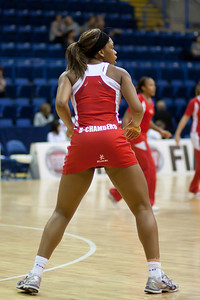 Eboni Beckford Chambers of England Netball warms up before the 2nd of 3 matches as part of the FIAT International Netball Test Series between England & New Zealand at the Capital FM Arena, Nottingham on 17th January 2011