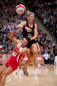 Tamsin Greenway of England Netball and Katrina Grant of the Silver Ferns in action during the 1st of 3 matches as part of the FIAT International Netball Test Series between England & New Zealand at the MEN Arena, Manchester on 15th January 2011.