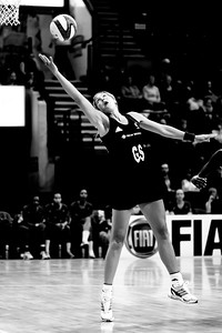 Irene Van Dyk of New Zealand in action during the 2nd of 3 matches as part of the FIAT International Netball Test Series between England & New Zealand at the Capital FM Arena, Nottingham on 17th January 2011