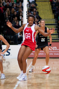Pamela Cookey of England Netball in action during the 1st of 3 matches as part of the FIAT International Netball Test Series between England & New Zealand at the MEN Arena, Manchester on 15th January 2011.