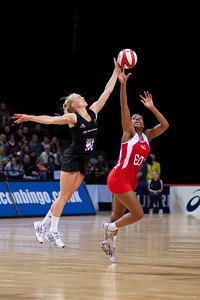 Eboni Beckford Chambers of England Netball and Laura Langman of the Silver Ferns in action during the 1st of 3 matches as part of the FIAT International Netball Test Series between England & New Zealand at the MEN Arena, Manchester on 15th January 2011.