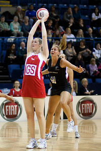 Louisa Brownfield of England Netball & Casey Williams of New Zealand in action during the 2nd of 3 matches as part of the FIAT International Netball Test Series between England & New Zealand at the Capital FM Arena, Nottingham on 17th January 2011