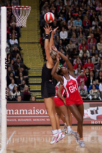 Sonia Mkoloma of England Netball and Irene van Dyk of the Silver Ferns in action during the 1st of 3 matches as part of the FIAT International Netball Test Series between England & New Zealand at the MEN Arena, Manchester on 15th January 2011.