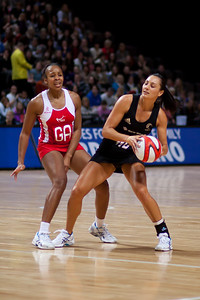 Pamela Cookey of England Netball and Joline Henry of the Silver Ferns in action during the 1st of 3 matches as part of the FIAT International Netball Test Series between England & New Zealand at the MEN Arena, Manchester on 15th January 2011.
