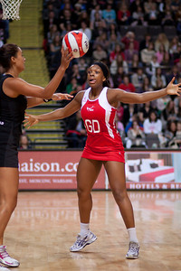 Eboni Beckford Chambers of England Netball in action during the 1st of 3 matches as part of the FIAT International Netball Test Series between England & New Zealand at the MEN Arena, Manchester on 15th January 2011.
