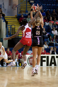 Sonia Mkoloma of England Netball & Irene Van Dyk of New Zealand in action during the 2nd of 3 matches as part of the FIAT International Netball Test Series between England & New Zealand at the Capital FM Arena, Nottingham on 17th January 2011
