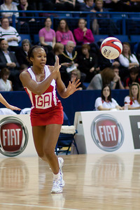 Pamela Cookey of England Netball in action during the 2nd of 3 matches as part of the FIAT International Netball Test Series between England & New Zealand at the Capital FM Arena, Nottingham on 17th January 2011