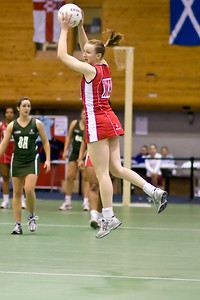 Jo Binns in flight during England v N Ireland Match on Day 1 of the Netball Europe Open Championships 2008