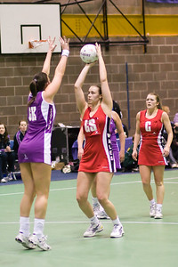 Action during Scotland v Wales Match on Day 1 of the Netball Europe Open Championships 2008