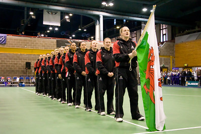 The Welsh team join the opening ceremony on Day 2 of the Netball Europe Open Championships 2008