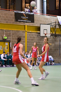 England Netball players in action during England v N Ireland Match on Day 1 of the Netball Europe Open Championships 2008