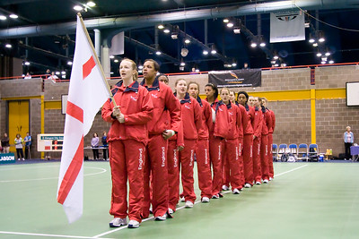 England join the opening ceremony on Day 2 of the Netball Europe Open Championships 2008