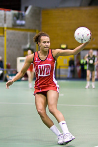 Serena Guthrie in action during England v N Ireland Match on Day 1 of the Netball Europe Open Championships 2008