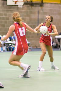 Sara Bayman and Serena Guthrie in action during England v N Ireland Match on Day 1 of the Netball Europe Open Championships 2008