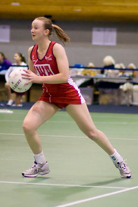 Jo Binns in action during England v N Ireland Match on Day 1 of the Netball Europe Open Championships 2008