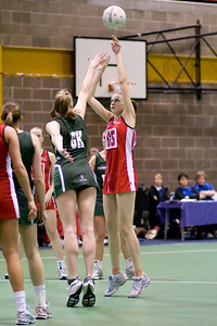 Jo Harten takes the shot during England v N Ireland Match on Day 1 of the Netball Europe Open Championships 2008