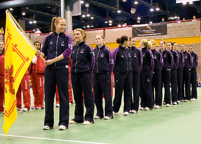 The Scotland team join the opening ceremony on Day 2 of the Netball Europe Open Championships 2008