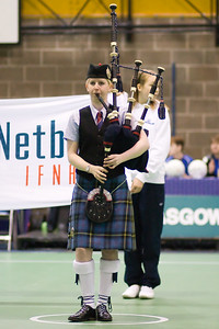 Bagpipes as part of the opening ceremony on Day 2 of the Netball Europe Open Championships 2008