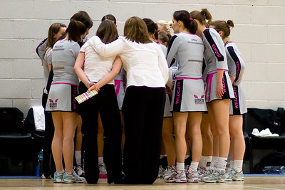 The Glasgow Wildcats Team before their match against Leeds Met Carnegie Netball Team, their first ever match in the COOP Netball Superleague on 25th October 2008
