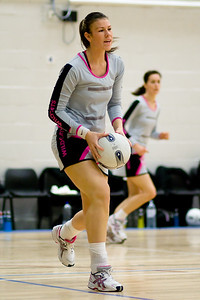 Glasgow Wildcats Superleague Netball team players warm up before the match.