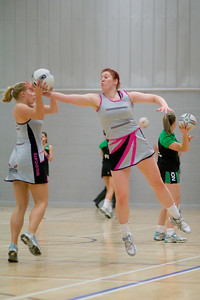 June McNeill, Glasgow Wildcats Superleague Netball team player warming up before the match