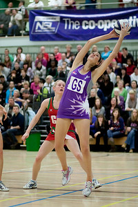 Lianne Badmin catches the ball during the Cooperative Netball Superleage match between Loughborough Lightning and Celtic Dragons played at Walsall Campus on 6th February 2010