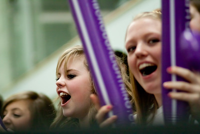 Loughborough Lightning fans in action during the Cooperative Netball Superleage match between Loughborough Lightning and Celtic Dragons played at Walsall Campus on 6th February 2010