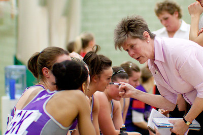 Wise words for the team during the Cooperative Netball Superleage match between Loughborough Lightning and Celtic Dragons played at Walsall Campus on 6th February 2010