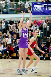 Jo Harten goes for the shot at the Cooperative Netball Superleage match between Loughborough Lightning and Celtic Dragons played at Walsall Campus on 6th February 2010